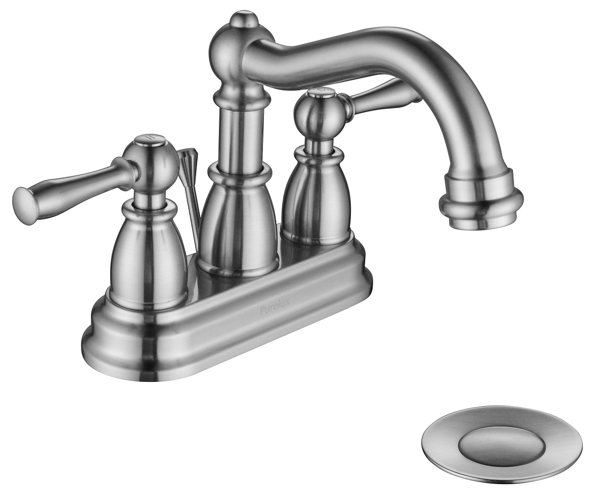 Traditional Two Handle Centerset Bathroom Faucet with Drain Assembly